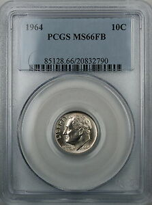 1964-Silver-Roosevelt-Dime-PCGS-MS-66FB-Full-Bands-Brilliant-Coin