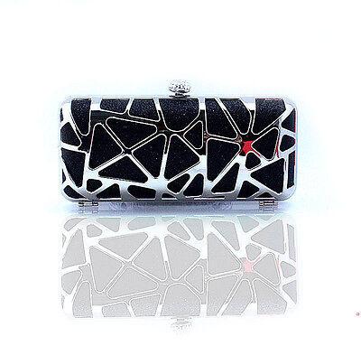 Black beautiful New Fashion Metallic Diamond punk Evening Clutch Handbag Bag