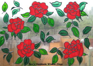 BEA-039-S-ROSES-amp-LEAVES-STAIND-GLASS-EFFECT-WINDOW-CLINGS