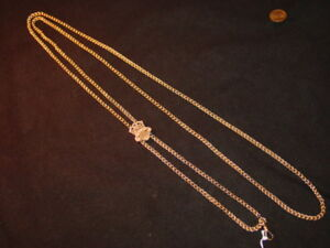 14K-Yellow-Gold-Victorian-Ladies-Watch-Chain-with-Slide-Just-Stunning