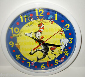 NEW-THE-CAT-IN-THE-HAT-DR-SEUSS-3-D-WALL-CLOCK-COLORFUL