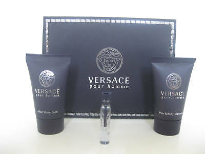 VERSACE POUR HOMME 0.05 OZ EDT MINI 3 PIECE SET w/ After Shave Balm & Shampoo