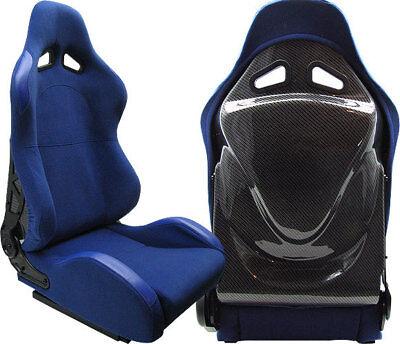 2 BLUE & CARBON RACING SEATS RECLINABLE ALL HONDA NEW