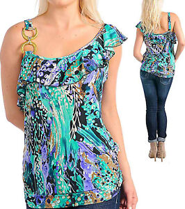 New-Womens-Ruffle-Cami-Shirt-Top-Emerald-Green-XL-3XL