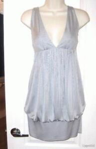 Sexy-CATHERINE-MALANDRINO-silver-gray-Silk-mini-halter-blouson-DRESS-S-6-NEW