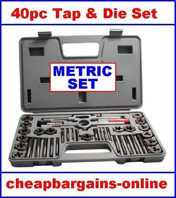 TAP & DIE SET 40pc QUALITY ALLOY METRIC TAP & DIE SET TREAD REPAIR KIT HAND TOOL