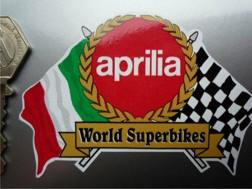 APRILIA Superbike Flag & Garland Helmet Motorcycle STICKER Bike World Moto Race