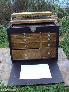 Antique NATIONAL CABINET CO Dental Dentist DRAWERED BOX leather ...