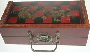 REPRO-ANTIQUE-DRAGON-CHINESE-CHESS-SET-TOMB-WARRIOR-PIECES-WOOD-CASE-BRASS-LATCH