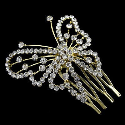 Elegant 5x5cm Golden Butterfly Wedding Bridal Flower Girl Crystal Hair Comb