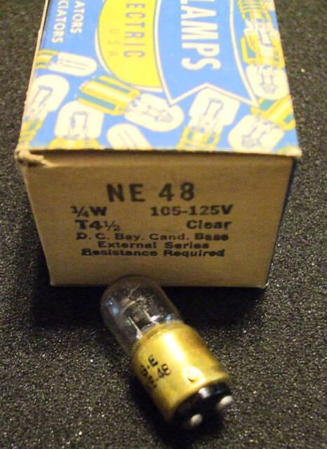 GE NE-48 B9A 1/4/w NOS NEON VINTAGE Circuit Component Test Lamp Bulb Free Ship