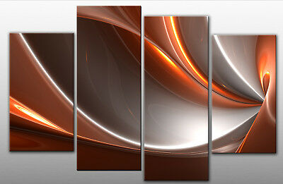 LARGE PEACH GREY ABSTRACT CANVAS ART  WALL PICTURE 40""