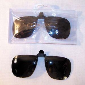 2-PAIR-CLIP-ON-DARK-SUNGLASSES-eye-glasses-shades