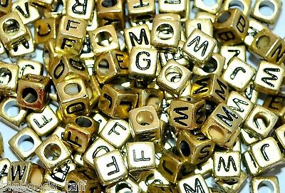 100pcs 6mm gold mixed cube alphabet letter beads