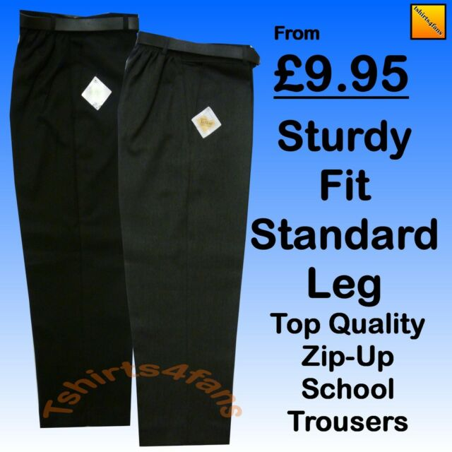 New Boys Good Quality Sturdy Stocky Fit School Trousers with Belt Grey Black