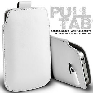 WHITE-PULL-TAB-LEATHER-POUCH-CASE-SKIN-COVER-FOR-HTC-ONE-X
