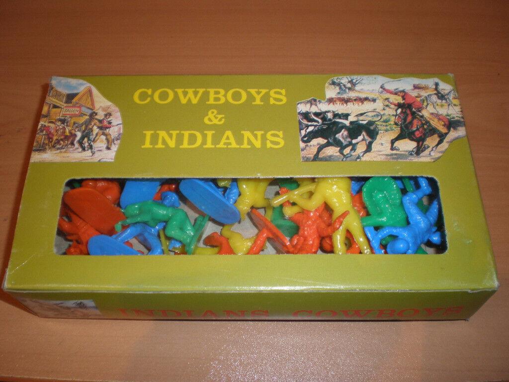 VINATGE 70's GREEK SOLPA PLASTIC TOY SOLDIERS WESTERN INDIANS COWBOYS MIB