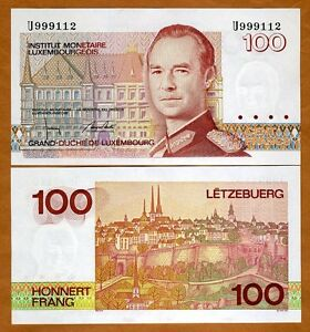 Luxembourg-100-Francs-1986-1993-Pick-58b-U-Prefix-UNC