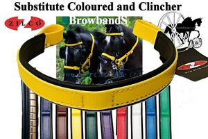 Zilco-Colour-Bridle-Browbands-For-Carriage-Driving-Horse-Harness-Many-Colors