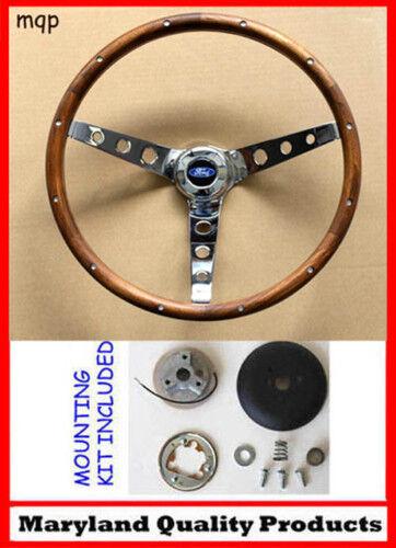 """70-77 Bronco F100 F150 F250 F350 Grant 15"""" Wood Steering Wheel Hardwood w/ kit"""