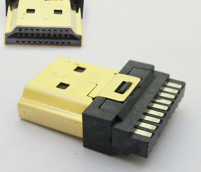 1pc 19pin HDMI Type A socket Male Plug Connector Gold