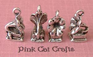 5-GRAMOPHONE-VINTAGE-RECORD-PLAYER-Tibetan-Silver-3D-Charms-Pendants-Beads