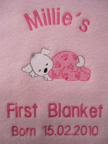 PERSONALISED DOG BLANKET  GIRL - PUPPY'S FIRST BLANKET!