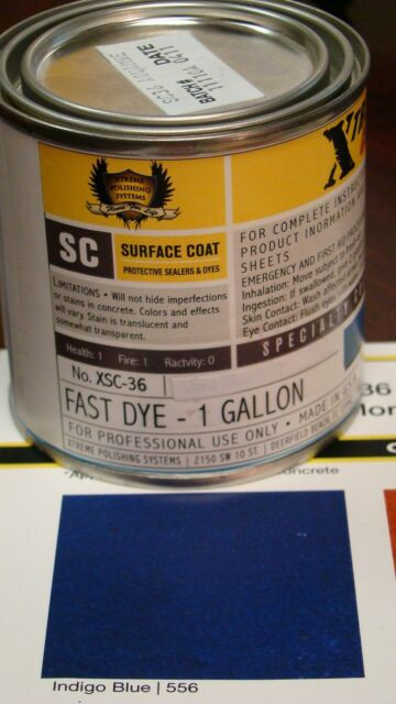 1 GL. Indigo Blue CONCRETE COLOR DYE FOR CEMENT, STAIN Covers 500 sq ft