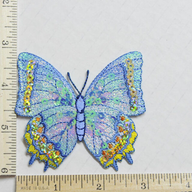BUTTERFLY IRON ON APPLIQUE SEQUIN LARGE 2 3/4 X 3 BLUE