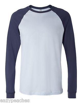 Canvas Mens NEW S-XL 2XL Long Sleeve Raglan Baseball Sport Cotton T-Shirt 3000