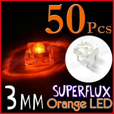 50 3mm Superflux Piranha Orange LED 12000mcd Super flux