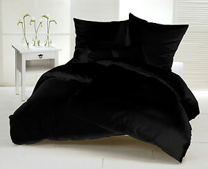 biber bettw sche 3tlg 200x200 cm flanell schwarz uni bergr e winter f r paare ebay. Black Bedroom Furniture Sets. Home Design Ideas