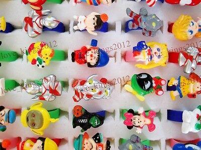 Wholesale lots jewelry 100Pcs cartoon animal children's resin rings adjust FREE