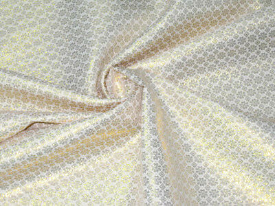 """GOLD & IVORY FLORAL METALLIC BROCADE FABRIC 44""""W for WEDDING DECOR TABLE CLOTH"""