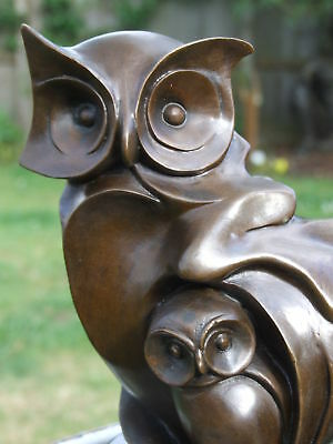 SIGNED LARGE ABSTRACT PURE HOTCAST BRONZE OWL STATUE