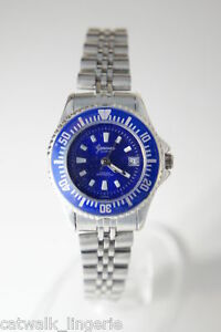 Genevix-Womens-Silver-Blue-Submariner-Style-Watch-Date