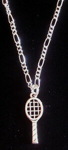 Tennis Racket Necklace 18 Sterling Silver Plate Chain & Oxidized Matte Silver