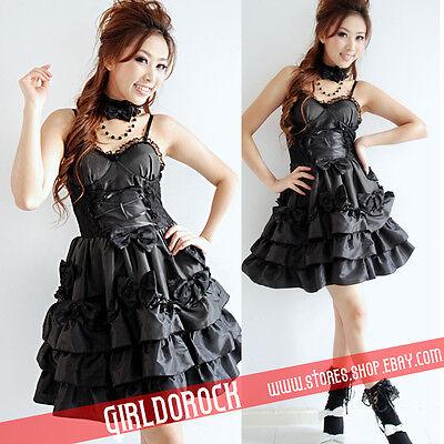 GOTHIC PUNK DOLLY BOW Lolita + NECKBAND CHAIN 61182 BLACK DRESS S-L