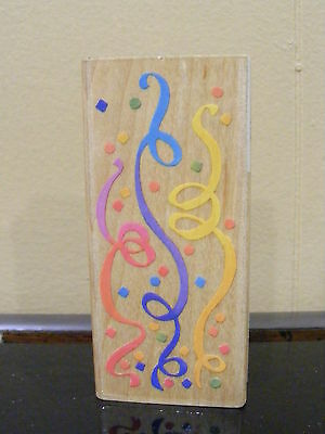 Wood Mounted Rubber Craft Stamp Party streamer confetti Party Decor birthday__SB