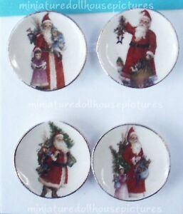 Miniature Dollhouse Victorian Santa Plates 1:12 Scale New