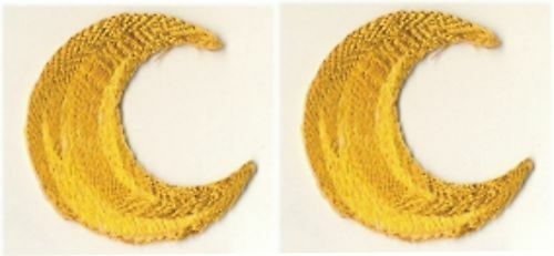 Pair of Lunar Waning or Waxing Crescent Moon Embroidery Patch Applique