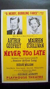 NEVER-TOO-LATE-Window-Card-ARTHUR-GODFREY-NYC-1965