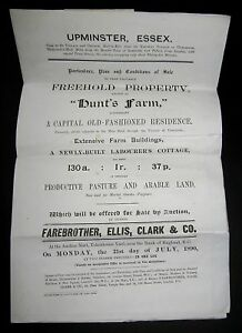HUNTS-FARM-UPMINISTER-ESSEX-FREEHOLD-PROPERTY-SALE-PARTICULAR-1890-FOLDING-PLAN