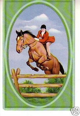 1 vintage playing swap card  Horse Horses - Hunting