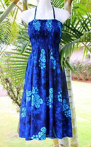 Blue Hibiscus Floral Hawaiian Hawaii Strapless / Halter ... - photo#9
