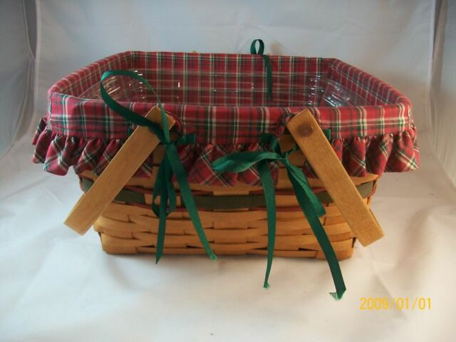 Longaberger 1993 Green Homecoming Holiday Hostess Basket Combo Christmas