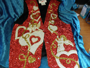 Sequined Valentine Vest Red White & Gold 4 Lovers Size?