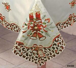 Christmas embroidered bell poinsettia candle tablecloth for 12 days of christmas table cloth