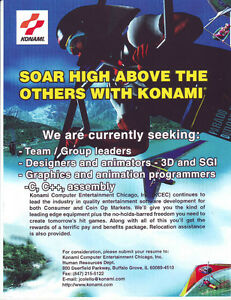 KONAMI-VINTAGE-TRADE-AD-LOOKING-FOR-NEW-HIRES-EMPLOYEES-NOT-A-VIDEO-GAME-FLYER