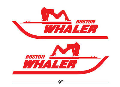 Boston Whaler Boat vinyl Decals with sexy lady set of 2